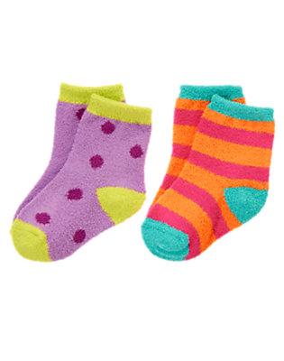 Toddler Girls Lavender Dot Dots & Stripes Socks Two-Pack by Gymboree