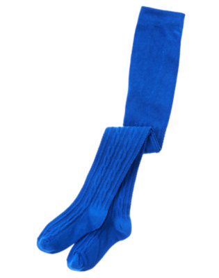 Toddler Girls Bold Blue Cable Tights by Gymboree
