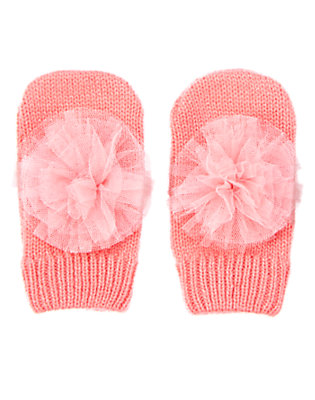 Pink Carnation Sparkly Rosette Mittens by Gymboree