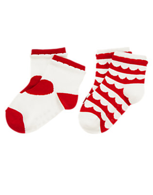 Toddler Girls Valentine Red/White Heart Scallop Striped Socks Two-Pack by Gymboree