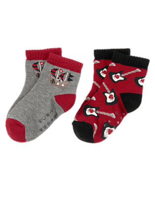Toddler Boys Heartthrob Heather Gray Valentine's Day Socks Two-Pack by Gymboree