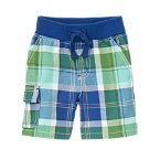 Plaid Ribbed Waist Short