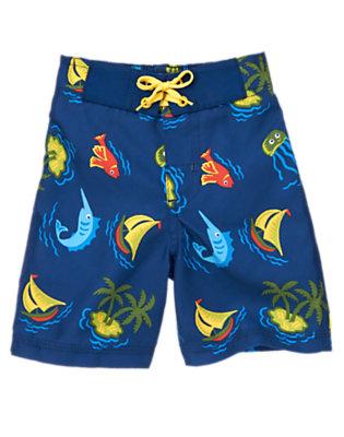 Toddler Boys Blue Surf Tropical Fish Swim Trunk by Gymboree