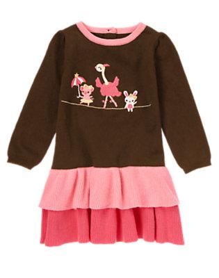 Toddler Girls Chocolate Brown Circus Animals Ruffle Hem Sweater Dress by Gymboree