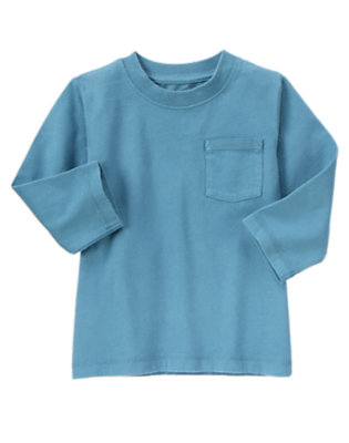 Dino Blue Always Soft Pocket Tee by Gymboree