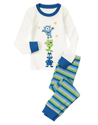 Toddler Boys Ivory/stripes Awesome Aliens Two-Piece Gymmies® by Gymboree