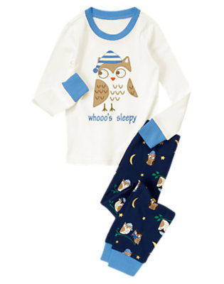Toddler Boys Ivory Whooo's Sleepy Two-Piece Gymmies® by Gymboree