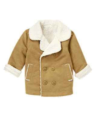 Camelback Tan Double-Breasted Faux Suede Jacket by Gymboree