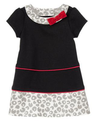 Baby Black/White Kitty Ponte Dress by Gymboree