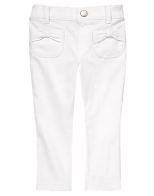 Toddler Girls White Bow Pocket Twill Pants by Gymboree