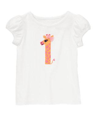 Toddler Girls White First Birthday Giraffe Tee by Gymboree