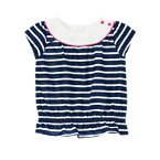 Striped Bubble Ruffle Top