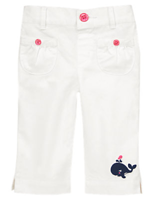 Toddler Girls White Whale Cuff Pants by Gymboree