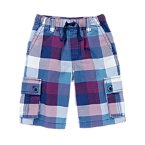 Drawstring Plaid Cargo Shorts