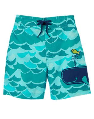 Toddler Boys Aqua Splash Waves and Whale Swim Trunks by Gymboree