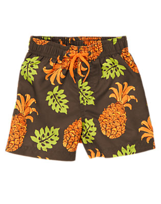 Coconut Shell Pineapple Swim Trunks by Gymboree
