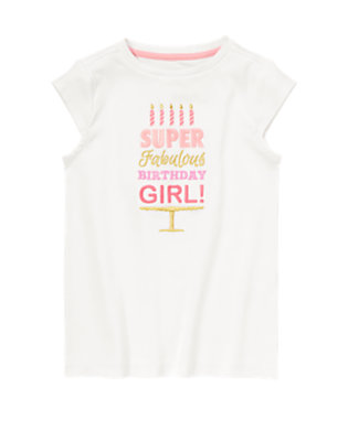 Girls White Happy Birthday Tee by Gymboree