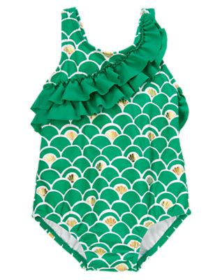 Emerald Seashell Scalloped Swimsuit by Gymboree