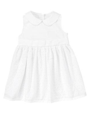 Toddler Girls White Eyelet Dress by Gymboree