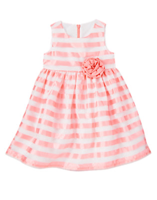 Toddler Girls Pink Bloom Shiny Stripe Rosette Dress by Gymboree