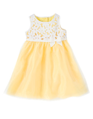 Toddler Girls Yellow Daffodil Floral Organza Dress by Gymboree
