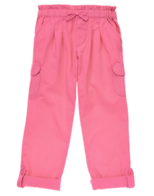 Girls Neon Pink Cargo Roll Up Pants by Gymboree