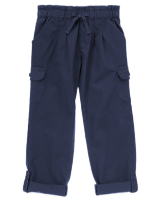 Girls Navy Cargo Roll Up Pants by Gymboree