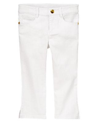 Girls White Stretch Capri Pants by Gymboree