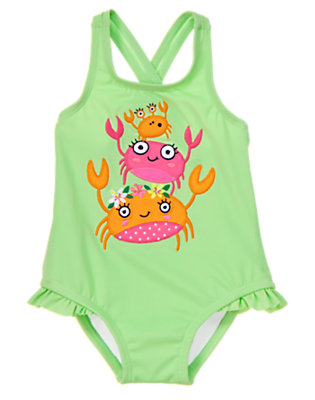 Toddler Girls Lime Sorbet Stacked Crabs One-Piece Swimsuit by Gymboree