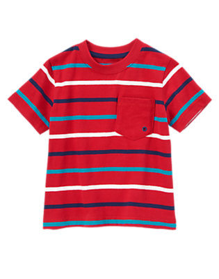 Toddler Boys Red Stripe Always Soft™ Striped Tee by Gymboree