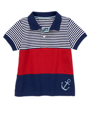 Nautical Navy Pieced Striped Anchor Polo by Gymboree