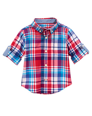 Toddler Boys Pirate Plaid Plaid Roll-up Sleeve Shirt by Gymboree