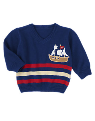 Deep Blue Sea Striped Ship Sweater by Gymboree