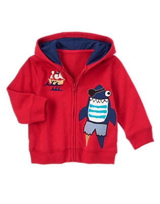 Jolly Roger Red Pirate Shark Hoodie by Gymboree