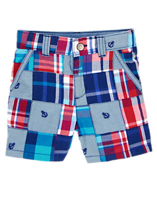 Plaid Patchwork Anchor Patchwork Shorts by Gymboree