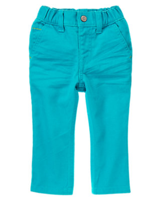 Toddler Boys Tidal Teal Pull-On Colored Jeans by Gymboree
