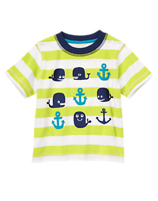 Toddler Boys Bright Seaweed Stripe Happy Whale Striped Tee by Gymboree