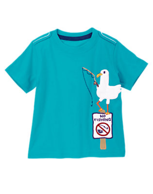 Toddler Boys Tidal Teal Fuzzy Fishing Seagull Tee by Gymboree