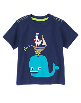 Nautical Navy Happy Whale & Seagull Tee by Gymboree
