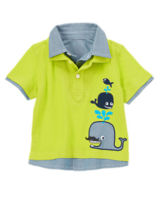 Toddler Boys Bright Seaweed Layered Whale Polo by Gymboree