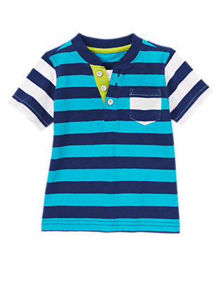 Toddler Boys Teal Stripe Stripe Pocket Henley Tee by Gymboree