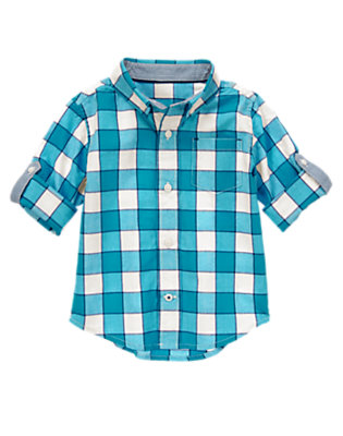 Toddler Boys Tidal Teal Gingham Shirt by Gymboree
