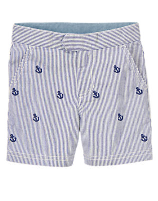 Nautical Pinstripe Allover Anchor Shorts by Gymboree
