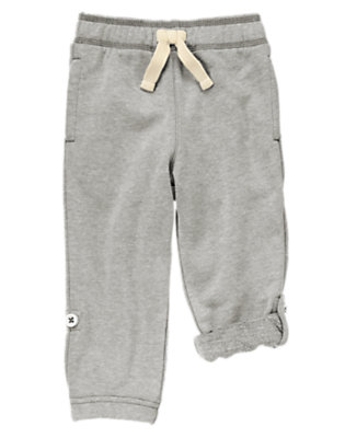 Toddler Boys Heather Grey Roll-Up Knit Pants by Gymboree
