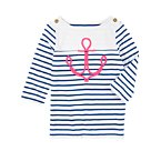 Boatneck Anchor Stripe Tee