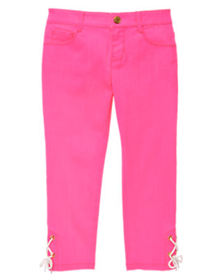 Girls Neon Pink Neon Rope Accent Pant by Gymboree