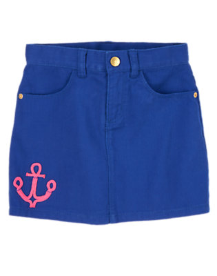 Girls Deep Blue Sea Denim Anchor Skort by Gymboree