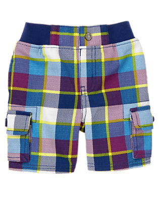 Ultra Violet Plaid Pull-On Plaid Cargo Shorts by Gymboree