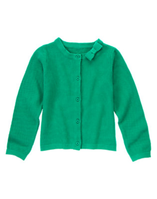Girls Emerald Clover Bow Collar Cardigan by Gymboree