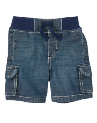 Toddler Boys Chambray Ribbed Waist Chambray Cargo Shorts by Gymboree